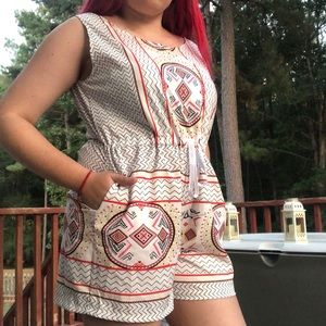 Choies Aztec Print  Romper with Pockets